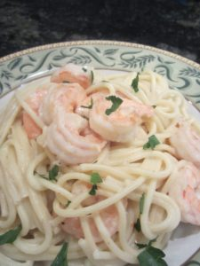 Delicious pasta with shrimp-Litsa!
