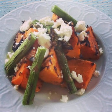 Grilled sweet potatoe salad