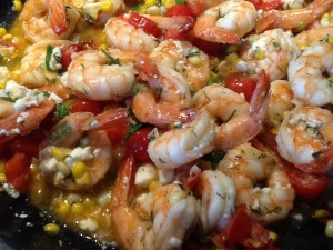 Divine shrimp with herbs and Feta!