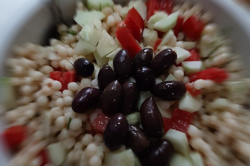 Pearl Cous Cous with Greek tomato salad!